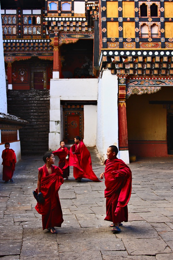 Young monks after a prayer session in Ladakh going for lunch