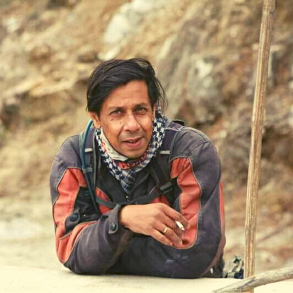 Shahwar Hussain after a long motorcycle ride