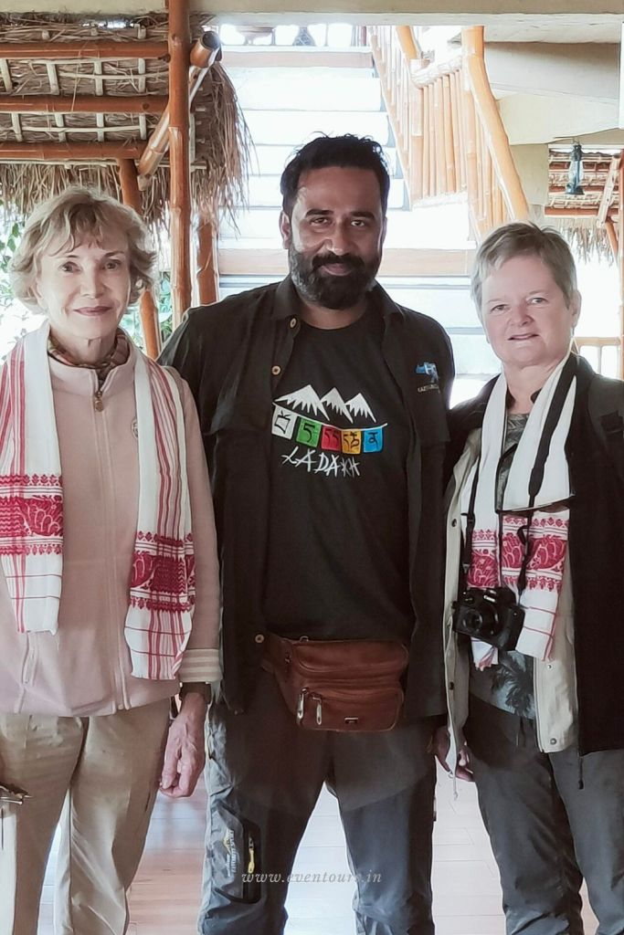 At a lunch in Diphlu River Lodge with French guests