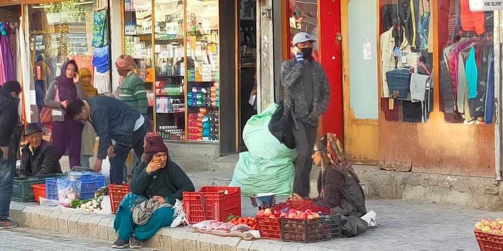 Local Market in Leh where local Lodakhi Women sell local products