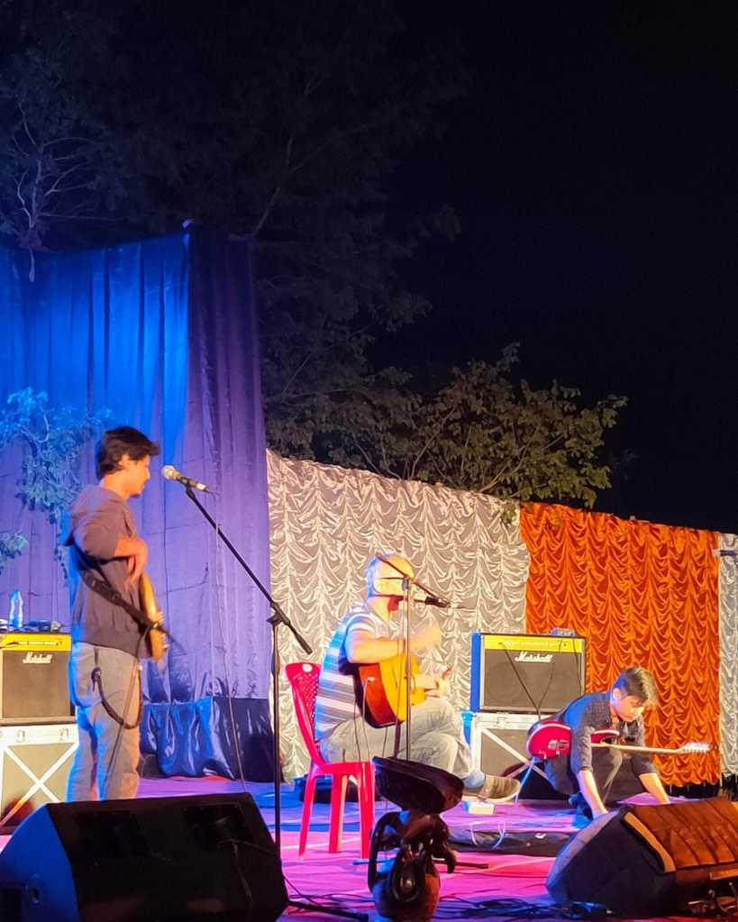 A local band performing at the Goodstock Festival in Guwahati