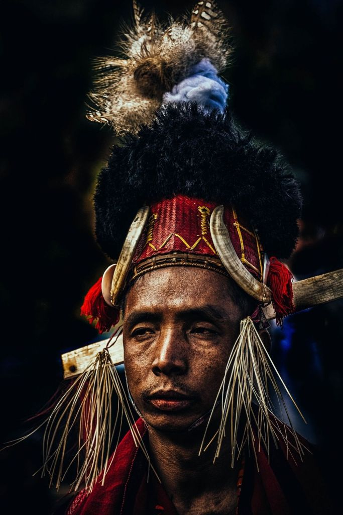 A Naga performer at the hornbill festival . Hornbill festival in Kohima in December