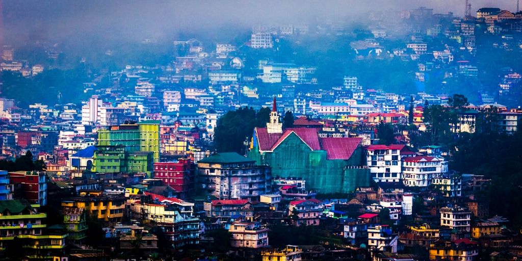 an early morning view of Kohima town from japfu hotel
