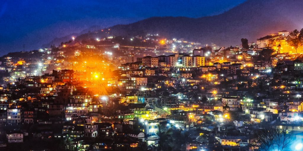 A night View of kohima town from Zubza village