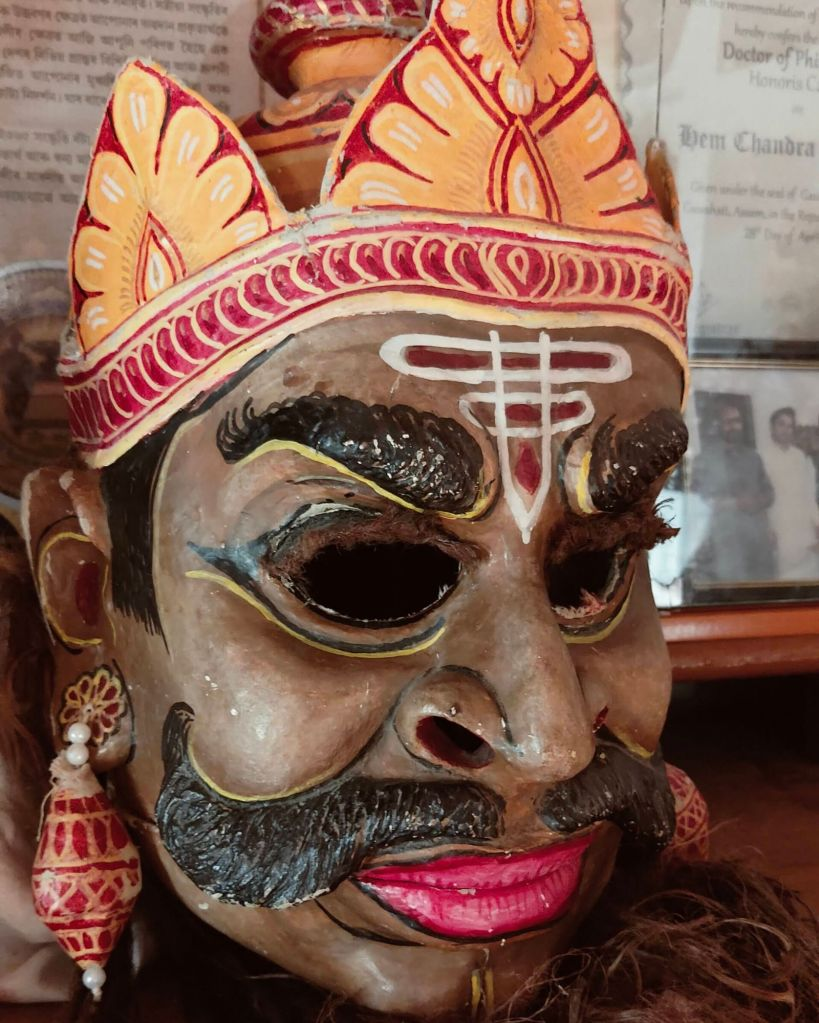 Finished mask at the masking making monastery in Majuli river island