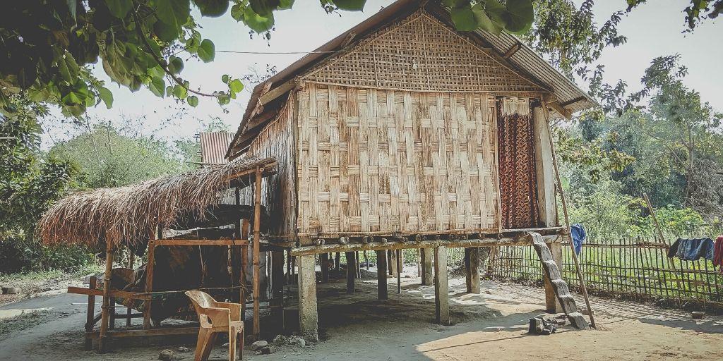 A Mishing Tribal hut built on slits in Majuli island