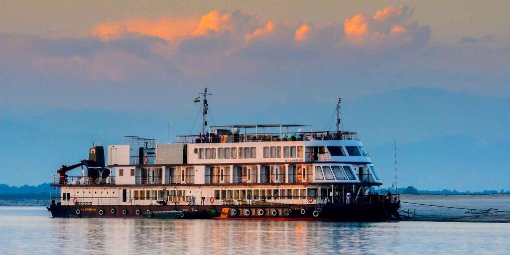The MV Mahabaahu , a luxury river cruise moored near Majuli island