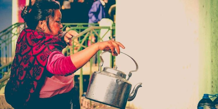 A lady doing brisk business at the India International Cherry Blossom festival in Shillong