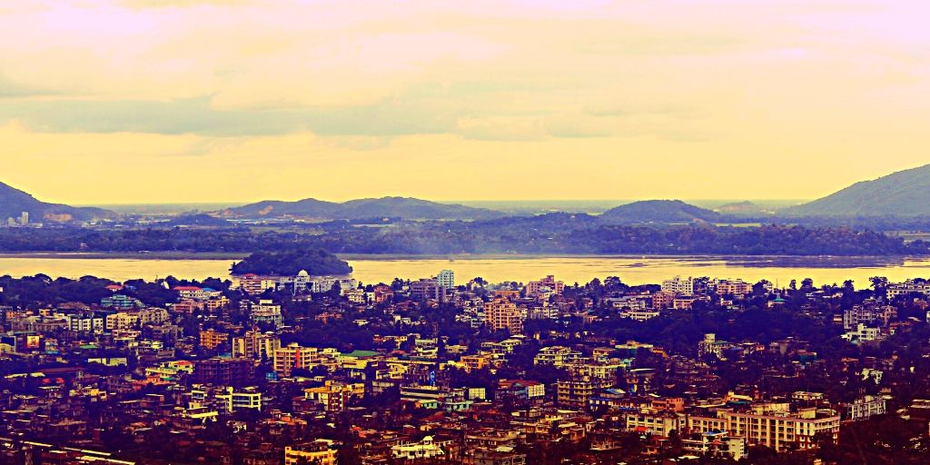 A view of Guwahati besides the Brahmaputra River