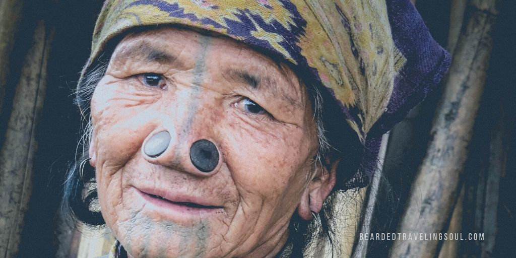 An Apatani woman with pierced nose in Ziro, Arunachal Pradesh